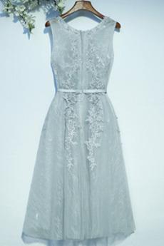 Robe de demoiselle d'honneur Col rond Petites Tailles Fermeture à glissière