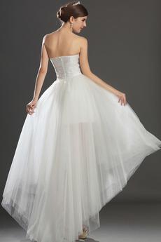 Robe de mariée Romantique Haut Bas Asymétrique Fermeture à glissière