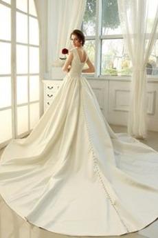 Robe de mariage Manche Courte Fourreau plissé Haut Bas Cérémonial