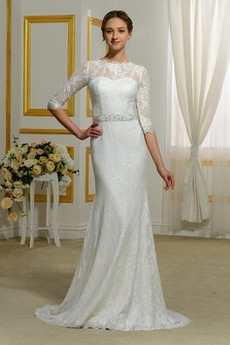 Robe de mariée Serré Gaze Train de balayage Exquisite Orné de Nœud à Boucle