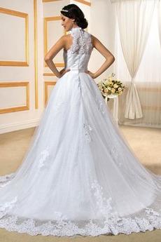Robe de mariée Longue Col haut Froid Cathédrale Appliquer Formelle