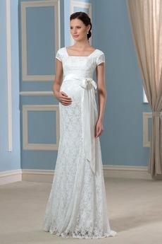 Robe de mariée Taille haute Mancheron Fermeture à glissière Col Carré