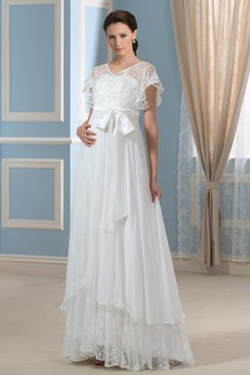 Robe de mariée Manche Courte Dentelle Été Orné de Nœud à Boucle