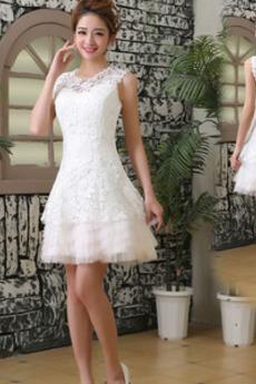 Robe de mariée Longueur de genou Fermeture à glissière Été Elégant