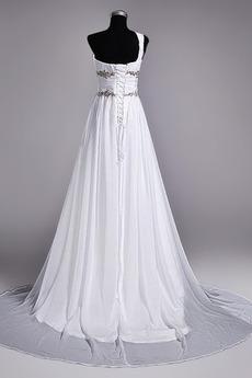 Robe de mariage Fourreau plissé Drapé Une épaule A-ligne Mousseline