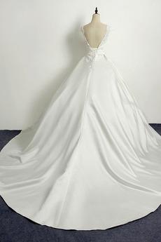 Robe de mariée Princesse Eglise Traîne Longue Manche Courte Satin