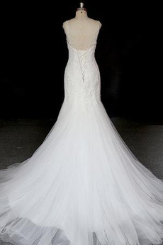 Robe de mariée Dentelle Automne Tulle Col U Profond Salle des fêtes