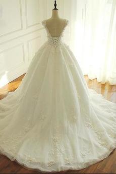 Robe de mariée Laçage Fleurs Naturel taille aligne Longue Manquant