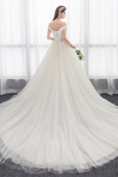 Robe de mariée Tulle Poire A-ligne Romantique Laçage Mancheron