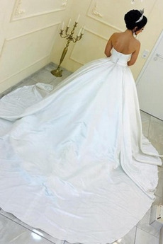 Robe de mariage Satin Naturel taille Sommaire A-ligne col coeur