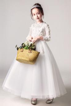 Robe de fille de fleur gossamer Naturel taille A-ligne Orné de Rosette