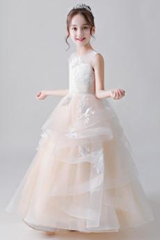 Robe de fille de fleur A-ligne Laçage Sans Manches Naturel taille