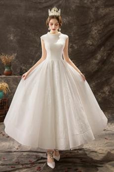 Robe de mariée Fermeture à glissière Jardin Col haut Automne
