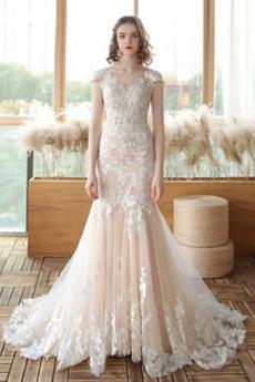 Robe de mariée Sirène Décalcomanie Naturel taille Tulle Couvert de Dentelle