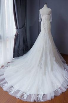 Robe de mariée Sirène Petit collier circulaire Éternel Tribunal train