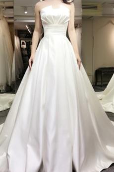 Robe de mariée Naturel taille Ruché Automne Eglise Soie Sans bretelles