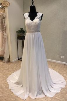 Robe de mariée semi-couverte Rivage A-ligne Automne Naturel taille
