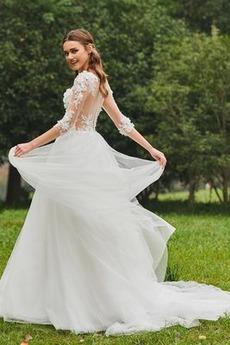 Robe de mariée A-ligne Col Bateau Longue Gaze De plein air Sans Manches