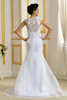 Robe de mariage Organza Traîne Mi-longue Dépouillé Petit collier circulaire