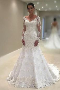 Robe de mariée Vintage Traîne Courte Col en V Manche Aérienne