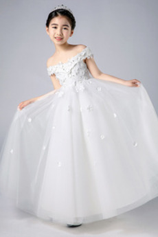 Robe de fille de fleur Rosée épaule Fleurs Médium Mancheron A-ligne