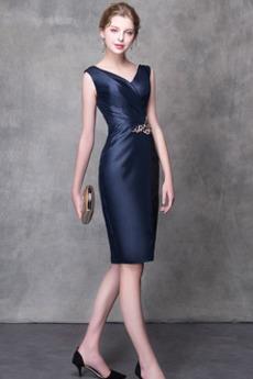 Robe de soirée Satin Mi-longues Sans Manches A-ligne Luxueux
