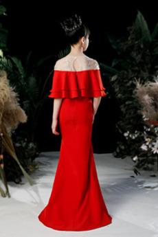 Robe de fille de fleur Col de chemise t Traîne Courte Glamour