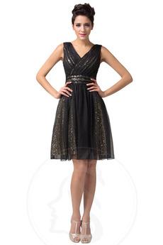 Robe de bal Glamour Col en V Sans Manches A-ligne Longueur de genou