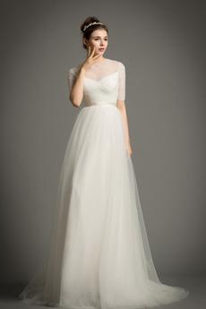 Robe de mariée Drapé Manche de T-shirt Longueur au sol Fermeture à glissière
