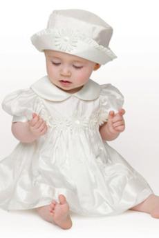 Robe de fille de fleur Été Col de chemise t Longueur Mollet Taffetas