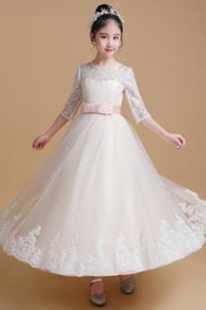 Robe de fille de fleur Broderie Mariage A-ligne Orné de Nœud à Boucle