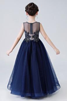 Robe de fille de fleur Manquant Fourreau Avec Bijoux Sans Manches