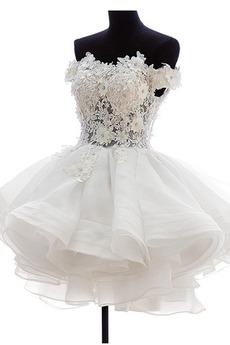 Robe de mariée Bouton Balle Rosée épaule Fermeture éclair Été