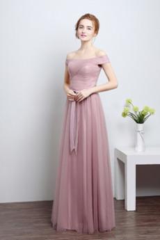 Robe de demoiselle d'honneur Naturel taille Rosée épaule aligne