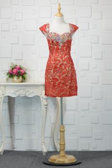 Robe de soirée Chic Glissière Près du corps Rosée épaule Couvert de Dentelle