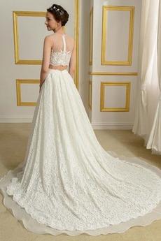 Robe de mariée Romantique Triangle Inversé A-ligne Plage 2 Pièces