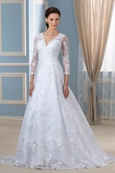 Robe de mariée Formelle Satin Chapelle Col en V Fermeture à glissière