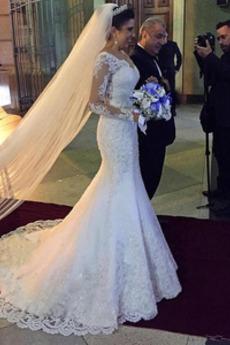 Robe de mariée Sirène Col en V Dos nu Dentelle Manche Aérienne