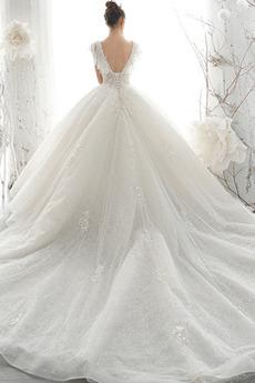 Robe de mariée Manche Courte Appliquer Printemps Corsage Avec Bijoux
