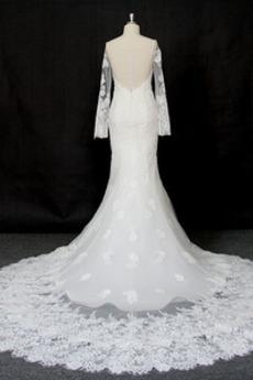 Robe de mariée Manche Longue Dentelle Eglise Col Bateau Formelle