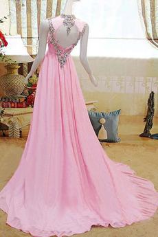 Robe de soirée Mousseline Epurée Sans Manches Naturel taille