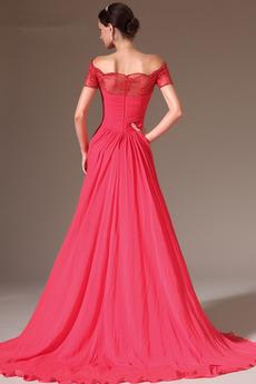 Robe de soirée aligne Mousseline Poire Rosée épaule Montrer Fourreau plissé