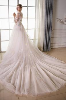 Robe de mariée Tulle Manche Aérienne Norme Longue Formelle a ligne