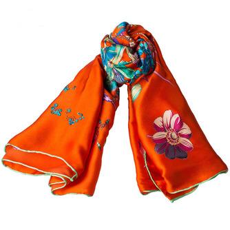 Écharpe Vaporiser la fleur Orange Hiver Vraie soie Campagne De longueur moyenne - Page 4