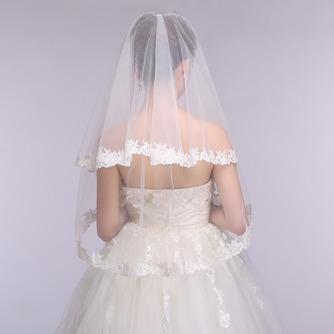 Voile de mariée Formelle blanc Dentelle Court Automne Avec le peigne - Page 5