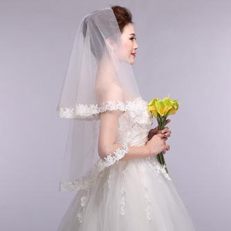 Voile de mariée Formelle blanc Dentelle Court Automne Avec le peigne - Page 4