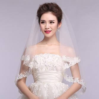 Voile de mariée Formelle blanc Dentelle Court Automne Avec le peigne - Page 1
