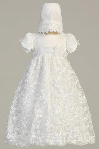 Robe de fille de fleur Princesse Satin élancé Bébé Fleurs Petit collier circulaire - Page 1