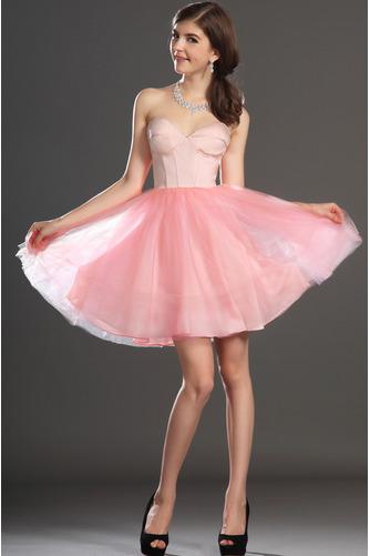 Robe de bal Tulle Mode Sablier Perle rose Col en Cœur Sans Manches - Page 3