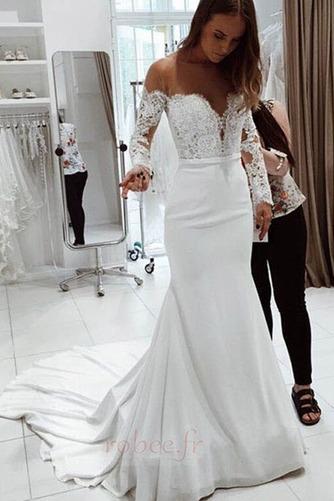 Robe de mariée Dentelle Traîne Courte Naturel taille Manche de T-shirt - Page 1